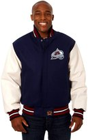 JH Design Colorado Avalanche Men's Wool & Leather Jacket with Hand Crafted Leather Team Logos