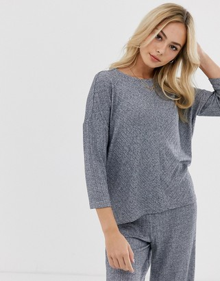 JDY oversized rib knitted top co- ord in grey