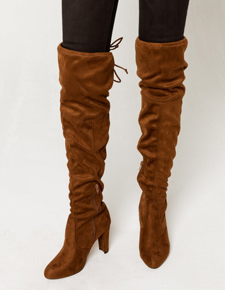 Wild Diva Lounge WILD DIVA Over The Knee Heeled Brown Womens Boots