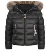 Moncler MonclerGirls Black Down Padded Solaire Coat With Fur Trim
