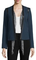Foundrae Cotton Leather-Trim Jacket w/ Silk Vest, Navy