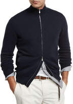 Brunello Cucinelli Full-Zip Cotton Sweater, Navy