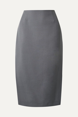 Prada Mohair And Wool-blend Pencil Skirt - Gray