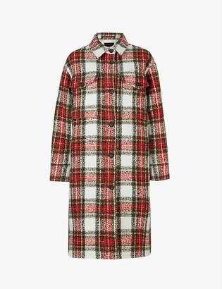 AllSaints Nia checked boucle coat