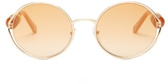 Chloé Dillie Bead-embellished Oval Metal Sunglasses - Brown Gold