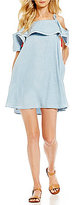 Copper Key Off-The-Shoulder Chambray Tassel-Tie Shift Dress