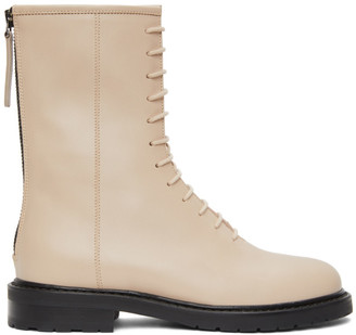LEGRES Beige Leather Combat Boots
