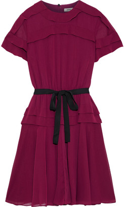 Jason Wu Collection Belted Ruffle-trimmed Gauze Dress
