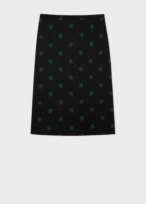 Paul Smith Women's Navy And Green Polka Dot Jersey Skirt