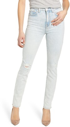 7 For All Mankind High Rise Distressed Skinny Jeans