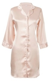Cathy's Concepts Personalized Blush Satin Night Shirt in S/M