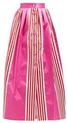 Marta Ferri - High-rise Striped Silk And Cotton-blend Maxi Skirt - Womens - Pink
