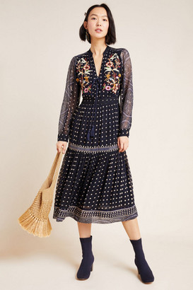Maeve Cassidy Embroidered Midi Dress