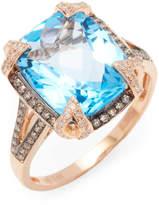 Effy Women's 14K Rose Gold Diamond, Brown Diamond & Blue Topaz Ring