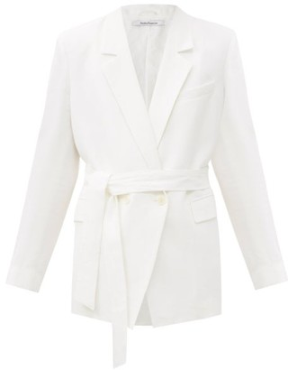 Another Tomorrow - Double-breasted Belted Organic-linen Jacket - Womens - White