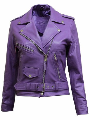 ABSY Women's Leather Biker Jacket Brando Vintage Purple