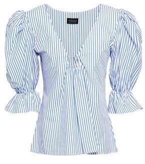 Petersyn Alexis Striped Cotton-poplin Top