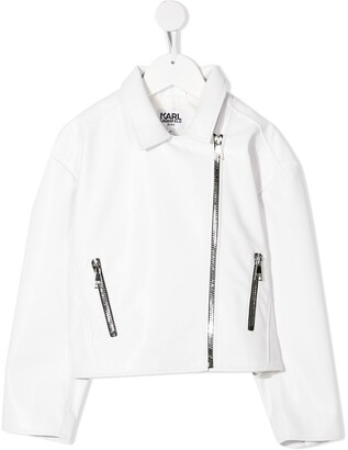 Karl Lagerfeld Paris Logo Print Biker Jacket