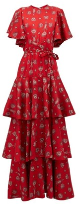 Johanna Ortiz Meditacion Del Mas Alla Shell-print Maxi Dress - Red Multi