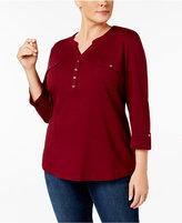 Karen Scott Plus Size Pocket Henley Top, Created for Macy's