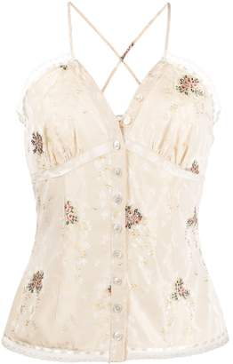 Christian Dior Pre-Owned 2000s rose embroidered camisole