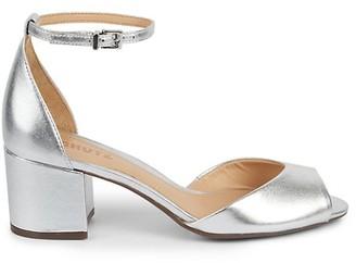 Schutz Roama Metallic Leather Ankle-Strap Sandals