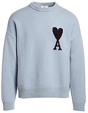 Ami Paris Men's Oversized Logo Intarsia Wool Sweater