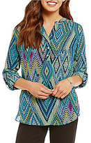 Investments Printed Y-Neck Roll Tab Blouse