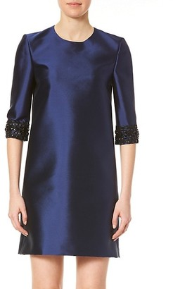Carolina Herrera Embellished-Sleeve Silk & Wool Shift Dress