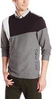 Calvin Klein Men's Long Sleeve Crew Neck Color Block Knit, Medium Grey Heather