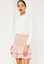 Missguided Pink Double Frill Hem Stretch Crepe Mini Skirt