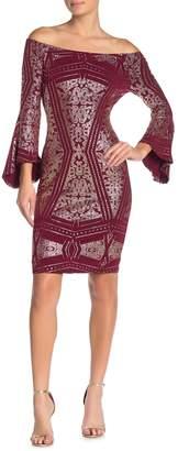 Jump Glitter Off-the-Shoulder Sheath Dress