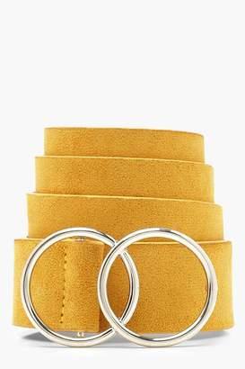 boohoo Suedette Double Ring Boyfriend Belt