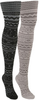 Ebony & Pearl Patterned Microfiber Tights Set - Women