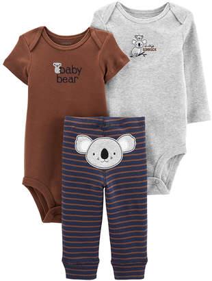 Carter's Boys' Infant Bodysuits Brown - Brown 'Baby Bear' Koala Little Character Bodysuit Set - Newborn & Infant