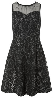 Dorothy Perkins Womens Black And Silver Shimmer Lace Skater Dress