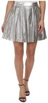 Sam Edelman Silver Pleated Perforated Pu Skirt