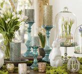 Pottery Barn Blue Mercury Glass Pillar Candleholders