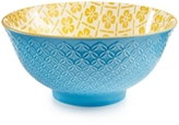"Certified International Chelsea Collection Embossed Blue/Yellow Floral 6.25"" Bowl"