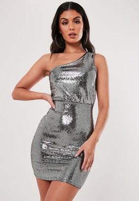 Missguided Silver Sequin One Shoulder Mini Dress