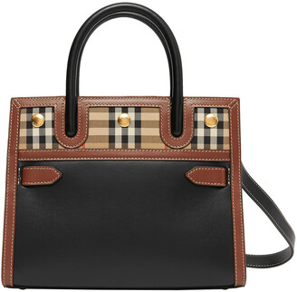 Burberry Baby Title Vintage Check Small Top-Handle Tote Bag