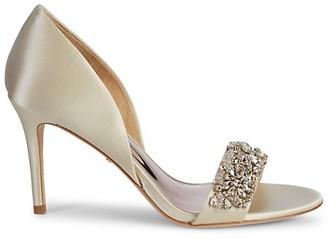 Badgley Mischka Satin Crystal Sandals