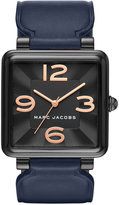 Marc Jacobs Women's Vic Navy Leather Strap Watch 34mm MJ1531