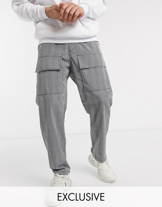 Reclaimed Vintage relaxed fit check trousers in grey