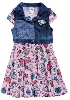 Sweet Heart Rose Sweetheart Rose Toddler's & Little Girl's Denim Emoji Vest & Dress Set