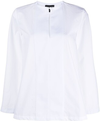Emporio Armani Panelled-Bib Cotton Blouse