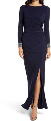 Xscape Evenings Beaded Cuff Cowl Back Long Sleeve Gown