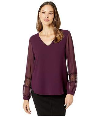 Calvin Klein Long Sleeve V-Neck Blouse with Lace Detail (Aubergine) Women's Clothing