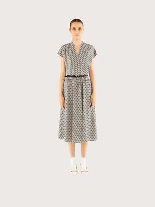 Salvatore Ferragamo Women Gancio S print silk dress White