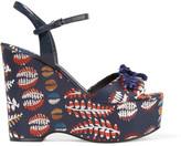 Tory Burch Embellished jacquard wedge sandals